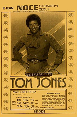 Tom Jones at Syria Mosque 1970 1971 Retro Art Print - Poster Size - Print of Retro Concert Poster - Features The Legandary Tom Jones.