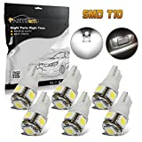 Partsam T10 194 168 LED Light Bulb W5W License Plate LED Lights Bulbs -6pcs White