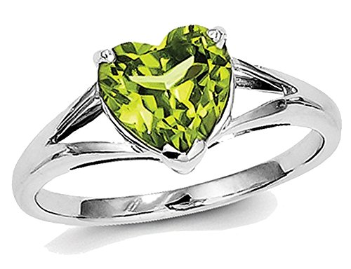 Ladies Natural Peridot 1.50 Carat (ctw) Heart Promise Ring in Sterling Silver ()