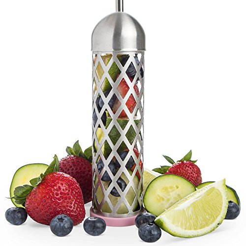 Stainless Steel Water and Fruit Infuser by sevdele - Flavor Infusion for Beverages, Pitchers, Sports Water Bottles - Removable, Portable Tea and Herb Infusers - Liven Drinks with Fresh Fruits
