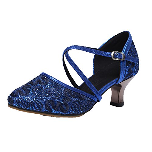 BYLE Adult Shoes Ankle Jazz Sandals Summer Dance 39 Ladies Shoes Samba Latin Sandals Modern Blue Dance Strap Shoes Lace Leather Dance pPrqOwxp