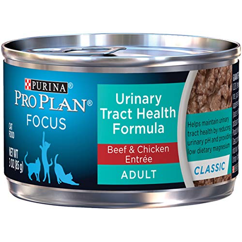 Purina Pro Plan Urinary Tract Health Wet Cat Food; FOCUS Urinary Tract Health Classic Beef & Chicken Entree - (24) 3 oz. Pull-Top Cans