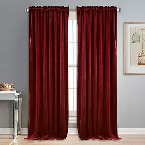 Burgundy Velvet Curtains - NICETOWN Red Velvet Curtains and Drapes for Bedroom - Ruby Red Curtains for Christmas & Thanksgiving Decor (Set of 2, Rod Pocket Design, 84 inches Long)