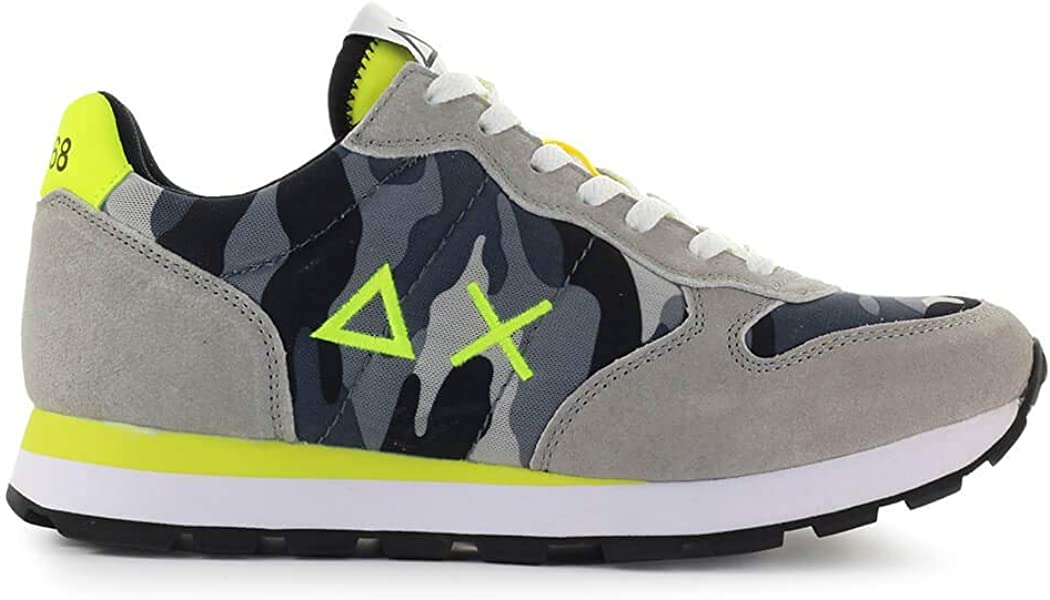 SUN68 Mens Shoes Tom Camouflage Grey Yellow Sneaker SS 2019