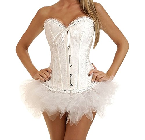AS503anakla Fashion Women's Sweetheart Embroidered Ruffle Hem Overbust Corset (L, White)]()