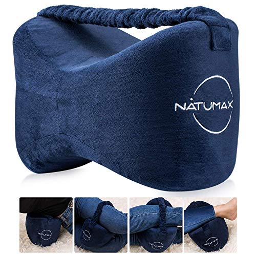 NATUMAX Knee Pillow for Side Sleepers - Sciatica Pain Relief - Back Pain, Leg Pain, Pregnancy, Hip and Joint Pain Memory Foam Leg Pillow + Free Sleep Mask and Ear -