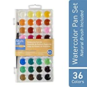 Artist's Loft 36 Color Fundamental Watercolor Pan Set with Paint Brush - Watercolor Set for Beginners and Professionals