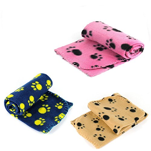 Teddy'sPets 3 Pack 3 Colors Super Soft Super Warm Fleece Fabric Blanket For Small Dogs, Cats, Puppies, Kitties Guinea Pigs And Other Small Animals Sleep Mat Pad Bed Cover Cute Lovely Paw Print