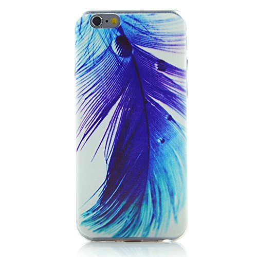 """INASK Soft Gel ultra thin Case back cover blue feather for iPhone 6 4.7"""" 4.7inch with LCD Screen Film"""
