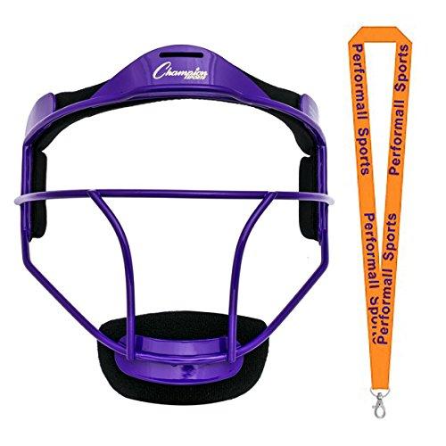 - Champion Sports Softball Fielder's Face Mask Youth Size Purple Bundle 1 Performall Lanyard FMYPR-1P