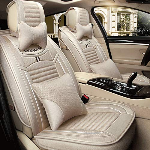 Whygry Car Seat Covers, 5 Seat Front & Rear Full Set Universal Compatible Airbags Breathable Cotton and Linen Comfort Protector Cushion (Color : Beige) Cotton Naturals Full Seat