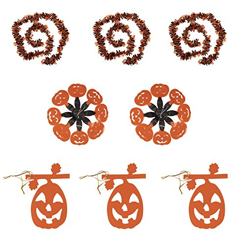 Halloween Party Decoration - 8-Pack Pumpkin Party Supplies, 3 Hanging Garlands, 3 Tinsel Garlands, and 2 Pendants, Orange and Black