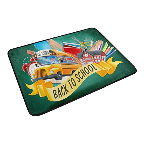 U LIFE Welcome Hello Back To School Season Bus Shower Curtain Set and Bathroom Area Rugs Mats 60 x 72 inch by ALAZA (Image #5)