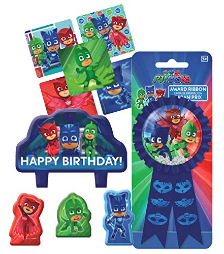 PJ Masks Birthday Cake Candle Set & Confetti Pouch Birthday Ribbon for Guest of Honor! Plus Party Favor - Confetti Mask