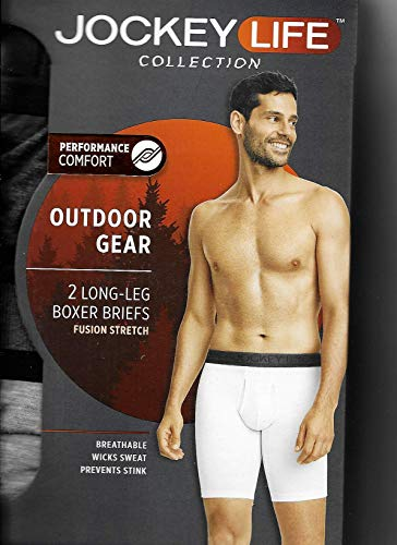 Jockey Life Men's 2-Pack Eco Outdoor Gear Fusion Stretch Boxer Briefs - Blue & Gray Heather (M) (Mens Outdoor Underwear)