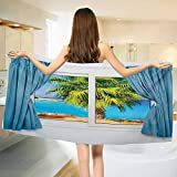 Chaneyhouse Beach,Baby Bath Towel,View from Window with a Curtain Tropical Beach Sun Rays Horizon Palm Ocean Print,Print Wrap Towels,Blue Green Size: W 10'' x L 39.5''