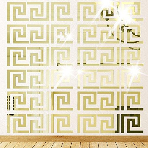 Himerus Mirror Wall Stickers Vintage Greek Key Geometric Pattern Removable Wall Decals DIY Vinyl Art Wall Sticker Art Home Decoration for Window Bedroom Sitting Room, 10 Pcs Gold