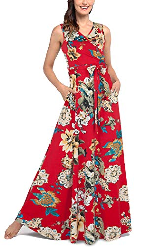 Comila Women Summer V Neck, Elegant Spring Sleeveless Floral Petite Maxi Dress Classic Pattern Many Compliments Christmas Dinner Paty Dress Red Floral XL US(16/18)