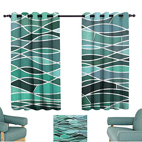 WinfreyDecor Seafoam Simple Curtain Stained Glass Pattern with Wavy Lines and Mosaic Abstract Geometric Composition for Living, Dining, Bedroom (Pair) 63