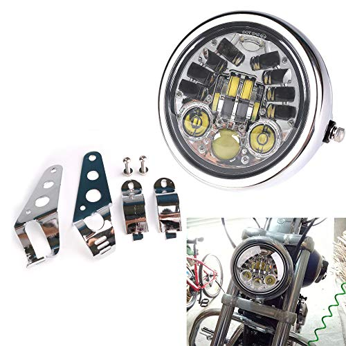 Cruiser Chrome Headlight - HOZAN 5.75 5-3/4inch Chrome LED Motorcycle Headlight Integrated Turn Signal with Headlight Housing for Kawasaki Honda Shadow Harley Suzuki Motorbikes Metric bikes Cruisers Choppers