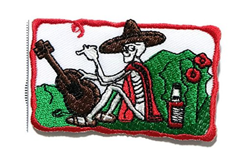 White Skull Skeleton Guitar Playing Logo Music Band DIY Embroidered Sew Iron on Patch by (Band Playing In Halloween 2)