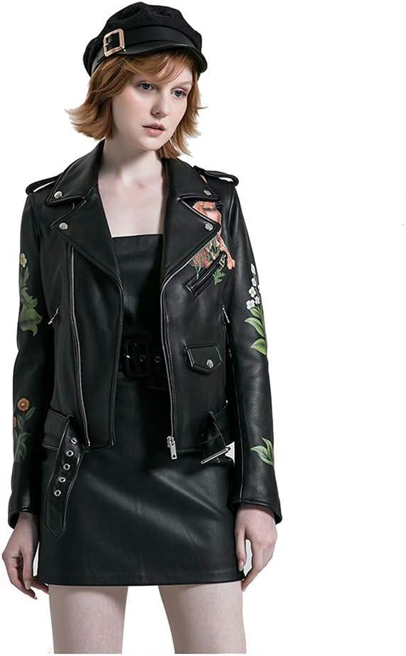 GWDYE Chaqueta de Cuero para Mujer, Abrigo Moto Biker, Cuero Hecho a Mano, diseño de Estampado Floral Realista de Zorro (S-3XL)