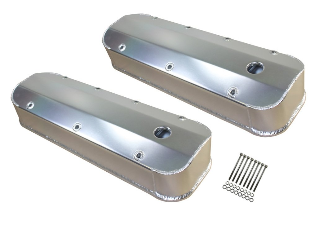 Chevy BBC Long Bolt Fabricated Polished Aluminum Valve Covers 396-454-502 65-95 by Pirate Mfg