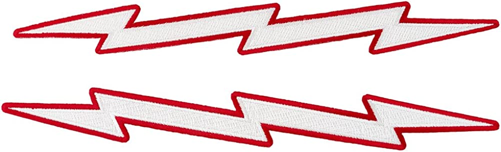 Red Lightning Bolt Embroidered Patches Two-Piece Iron-On Biker Emblem