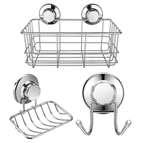 iPEGTOP Strong Suction Cup Deep Shower Caddy Bath Shelf Storage + Soap Dish Holder + Double Towel Hooks Stainless Steel for Shampoo, Conditioner, Soap, Razor Bathroom Kitchen Accessories, 3 Sets by iPEGTOP