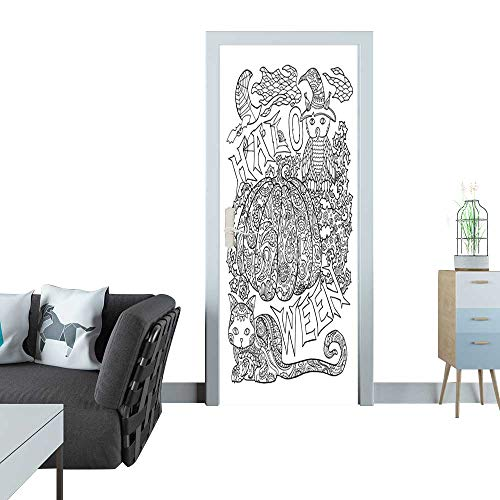 Anmaseven Door Sticker Halloween Coloring Page with Pumpkin Halloween Vector Illustration with owl cat Spider Sticker for Door 30x79(77x200 cm)