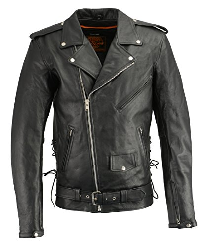 Milwaukee Leather Men's Tall Side Lace Police Style Jacket With Gun Pockets (Black, XX-Large) ()