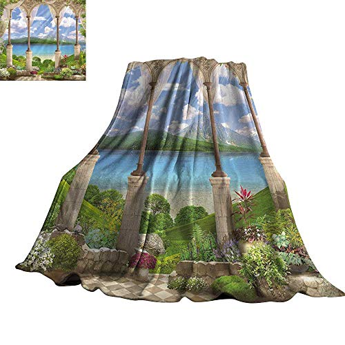 Italian Decor Blanket Sheets Old Ancient Stone Arch View The Sea Balcony Fresco Garden Plants Spiritual 30
