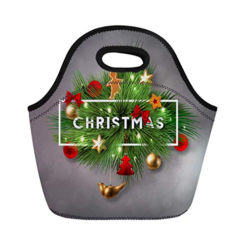 (Semtomn Lunch Bags Christmas Label Made of Pine Branches and Decorated Colored Neoprene Lunch Bag Lunchbox Tote Bag Portable Picnic Bag Cooler Bag)
