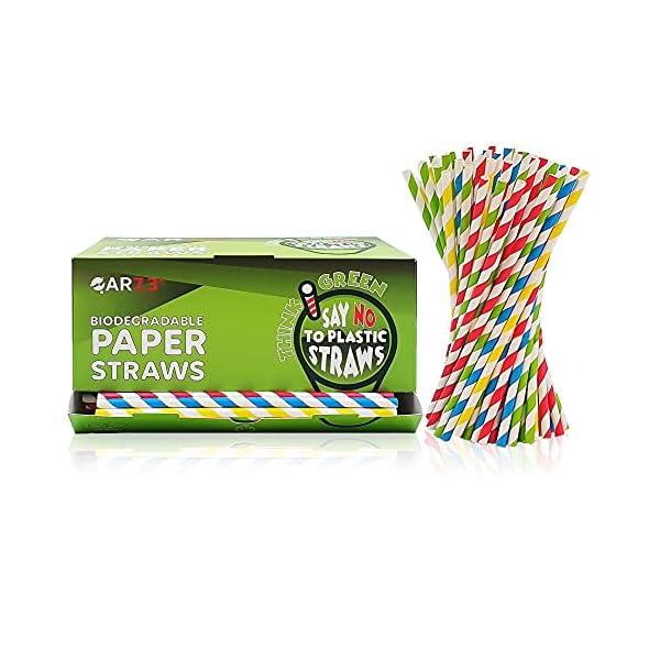 QAR7.3 Cannucce di Carta Biodegradabili - Colorate a strisce - Particolari idee Regalo - Pacco da 400 pezzi (6 mm * 19,5… 1