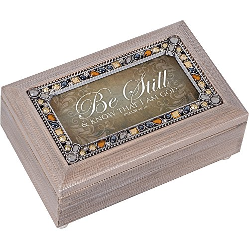 Music Pewter - Cottage Garden Be Still Know I Am God Pewter Jewel Beaded Petite Music Box Plays How Great Thou Art