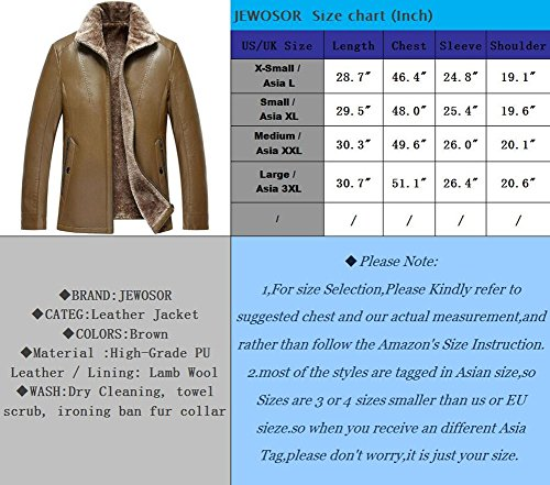 JEWOSOR Winter Leather Fit Men Outerwear 603 Thick Brown Fur Leisure Winter Jacket Warm Leather Fur Coat rpwr5Aq