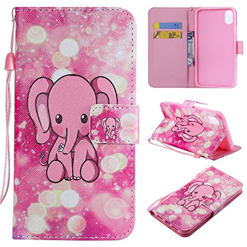 Price comparison product image Ostop Colorful Painted Leather Wallet Case for iPhone Xs Max,[Kickstand Feature] Cute Elephant Printed Pink PU Magnetic Flip Cover with Card Slots Wrist Strap Shockproof Shell