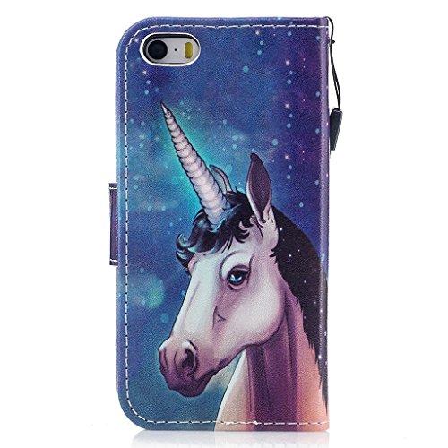 iPhone 5 5S Coque,Star Bête Portefeuille Fermoir Magnétique Supporter Flip Téléphone Protection Housse Case Étui Pour Apple iPhone 5 5S / SE + Deux cadeau