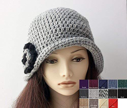 ed67142d548fd Amazon.com  Hand Crocheted Wool Flower Cloche Hat