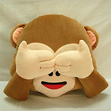 33cm Emoji Smiley Monkey Emoticon Cushion Pillow Stuffed Plush Soft Pillow Toy (Do not Look