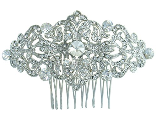 Sindary 3.15'' Silver-tone Clear Austrian Crystal Flower Hair Comb Wedding Headpiece by Sindary Jewelry