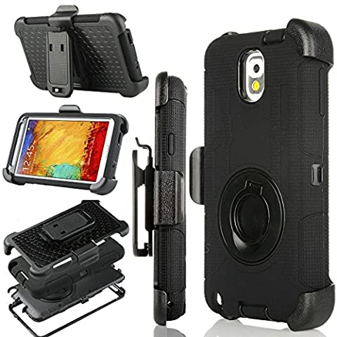 Note 3 Case, Galaxy Note 3 Case, Jwest Shockproof Heavy Duty Protection Hybrid Rugged Defender Samsung Galaxy Note 3 Case Rubber Built-in Rotating Kickstand Belt Swivel Clip Holster Note 3 Case, (Galaxy Note 3 Phone Case Black)