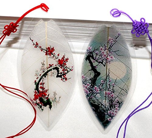 Lucore Leaf Bookmarks -Made of Real Leaves - 2 Pcs Cherry Blossom Tree Lucky Charm, Ornament, Hanging & Wall Decor, Art Decoration (Real Xmas Trees)