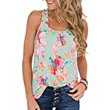 TWGONE Sleeveless Tunic Tops For Women Ladies Scoop Neck Summer Floral Print Tank (XX-Large,Green)