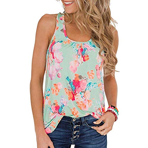 Toimothcn Women's Summer Sleeveless Pleated Back Closure Casual Floral Print Tank Tops Vest(Green,M) ()