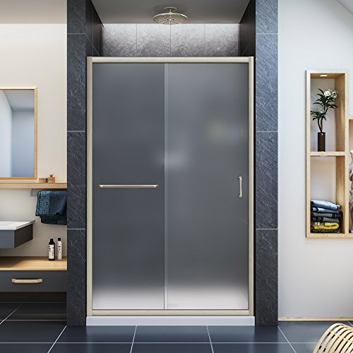 DreamLine Infinity-Z 44-48 in. W x 72 in. H Semi-Frameless Sliding Shower Door, Frosted Glass in Brushed Nickel, SHDR-0948720-04-FR
