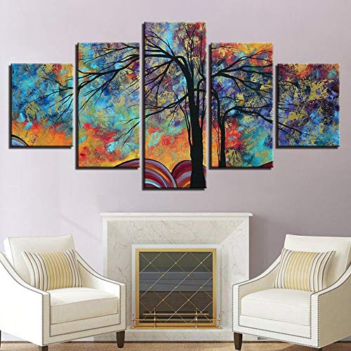 PEACOCK JEWELS [Large] Premium Quality Canvas Printed Wall Art Poster 5 Pieces / 5 Pannel Wall Decor Vibrant Colors Painting, Home Decor Pictures - Stretched
