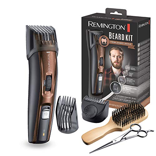 Remington MB4045 – Kit Recortador de Barba, 5 Accesorios y Barbero, Inalámbrico, Litio, Lavable, Negro y Marrón