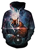GLUDEAR Unisex All Over Print Hoodie Casual Pullover Hooded Sweashirt Jacket with Pockets,Galaxy & Bright Fox,S/M