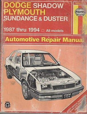 1987-1994 HAYNES DODGE SHADOW,PLYMOUTH SUNDANCE REPAIR SERVICE MANUAL 1726 (379)